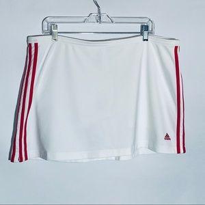 Adidas white tennis skort w red stripes, size XL